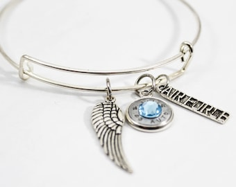 Air Force Charm Bangle Bracelet// Bullet Jewelry // Military Mom // Soldier's Mom Jewelry // Patriotic Jewelry // Air Force Mom // USA