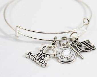 I Love My Soldier Charm Bangle Bracelet // Military Jewelry // Bullet Jewelry // Soldier's Wife // Patriotic Jewelry // USA Pride
