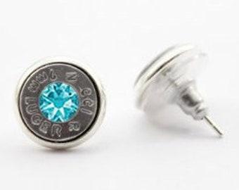 Silver Bullet and Swarovski Stud Earrings