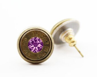 Brass Bullet and Stone Charm Studs