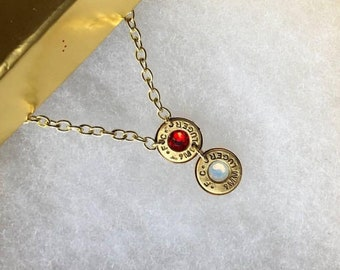 Multi-Charm Birthstone Bullet Necklace