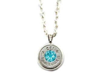 Silver Bullet and Swarovski Charm Necklace
