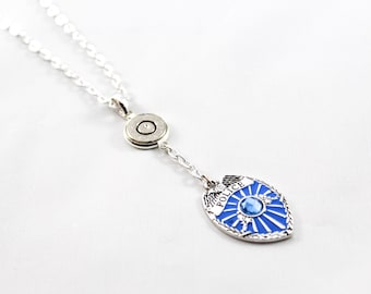 Police Badge Bullet Necklace