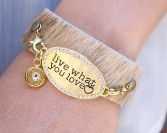 """""""Live What You Love"""" Leather Cuff Bracelet"""