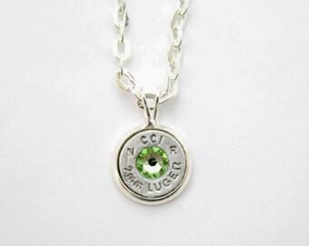 Peridot Swarovski Silver Bullet Necklace