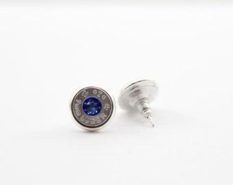 Royal Blue and Silver Swarovski Bullet Stud Earrings