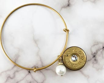 Bullet Pearl Bangle Bracelet // Shotgun Bracelet // Shotgun Wedding // Bullet Jewelry // Bridal Jewelry // Country Wedding // 12 Gauge