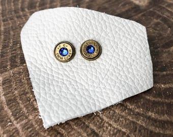 Royal Blue and Brass Swarovski Bullet Stud Earrings