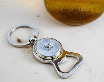 Shotgun Silver  Bullet Bottle Opener Keychain