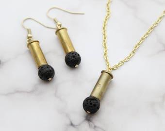 Lava Rock & Bullet Jewelry Set