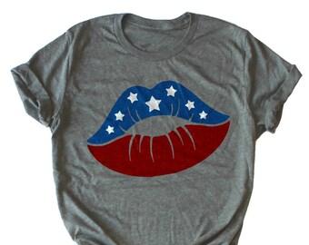 dc3fcdf9 American Flag Lips, USA Flag - Funny Fourth Of July Tank, July 4th Drinking