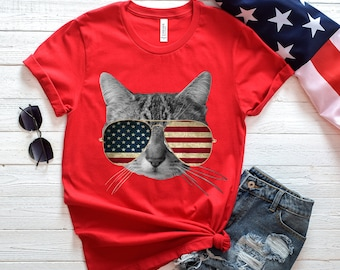 7991186f American Cat In Sunglasses - Funny Fourth Of July Tank, July 4th Drinking  Shirts,