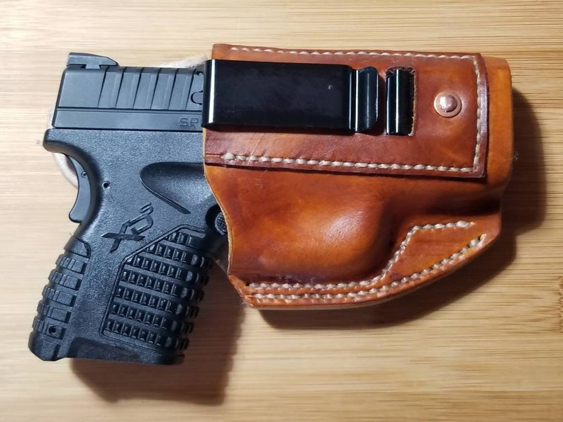 IWB leather XDs 3 3 9mm or  40 cal  holster Handmade in the USA