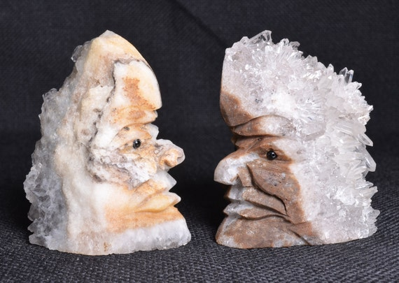 Indian Face Decor Beautiful Crystal Cluster Carving Native Etsy