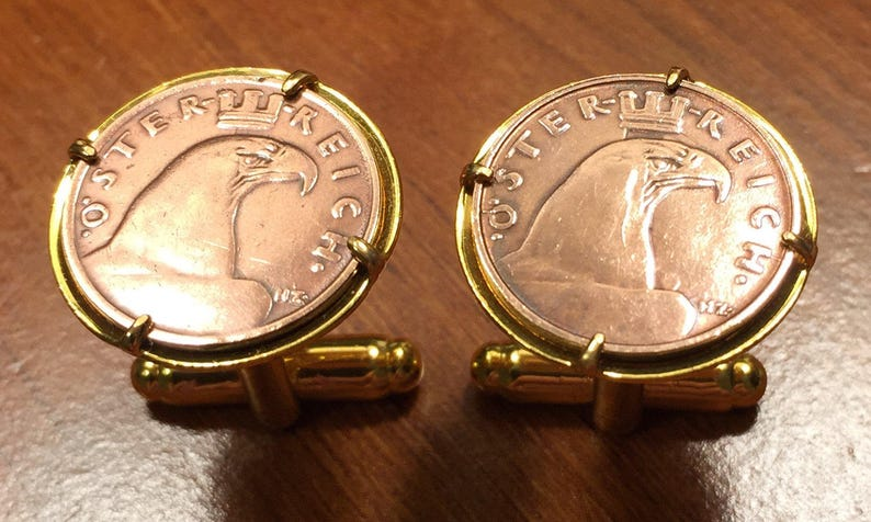 Gift Box Vintage 1925-1938 Austria Eagle Head Austrian Bronze Coin Cufflinks