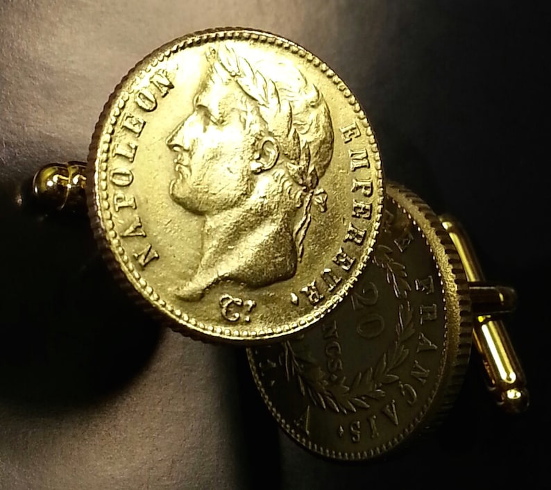French Emperor Napoleon Bonaparte France 20 Francs Gold Tone Brass Unique Coin Cufflinks with Gift Box!