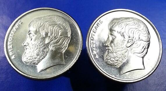 Greek Philosopher Aristotle Vintage Greece Silver Tone Coin Cufflinks Gift Box