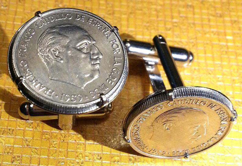 Vintage 1959 Spanish General Francisco Franco Spain Coin Cufflinks Gift Box!