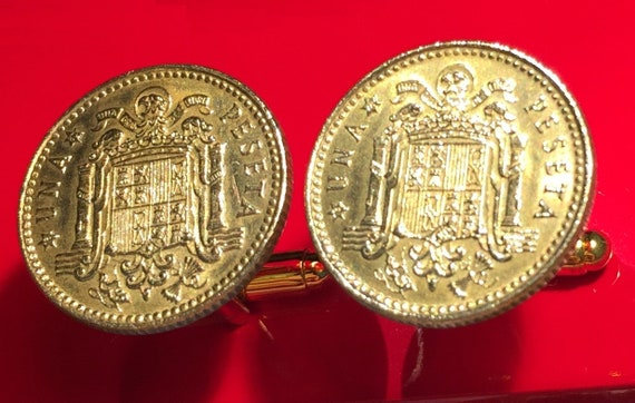 Mexican Golden Eagle on Cactus Killing Snake Mexico Coat of Arms Silver Tone Coin Cufflinks with Gift Box