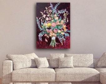 Original Painting Art Tropical Art Floral Painting Queen Protea Eucalyptus Bouquet Large Wall Art