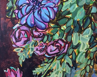 Original Floral Acrylic Painting on Wood Panel