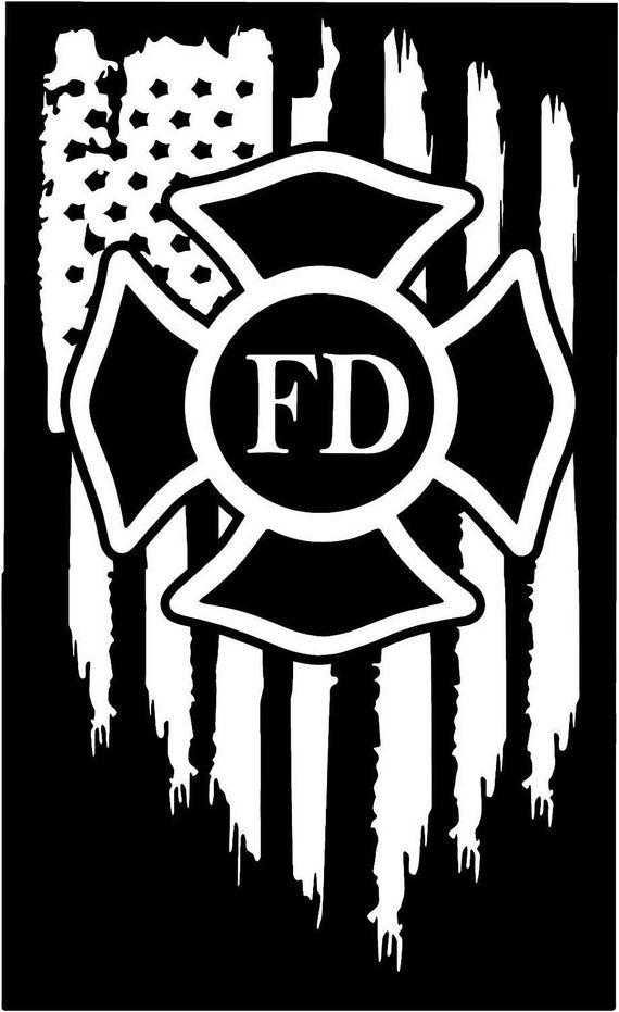 American Flag Firefighter Maltese Cross Fire Vinyl Die Cut
