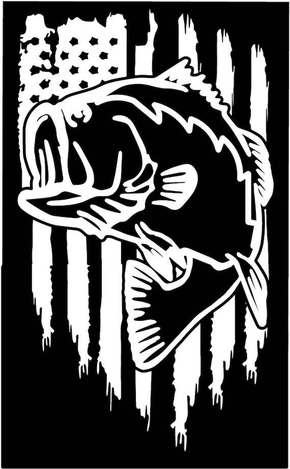 American Flag Bass Fishing Hunting Vinyl Die Cut Sticker