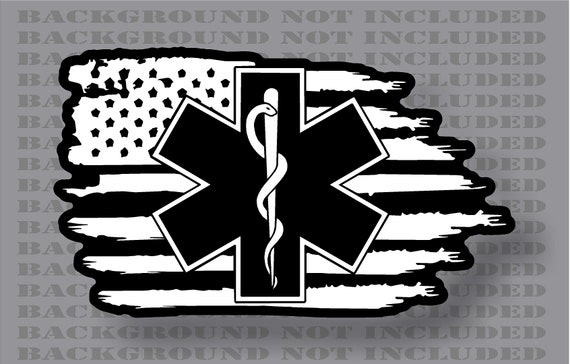 Thin Reflective Subdued EMS EMT Paramedic American flag star of life Decal