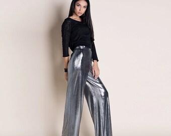 Cosmic Silver wide leg trousers