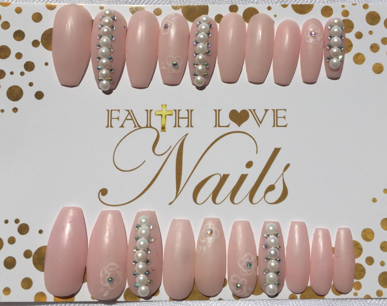 Blush Pink Matte Press On Nails | Fake Nails | Wedding Nails ...