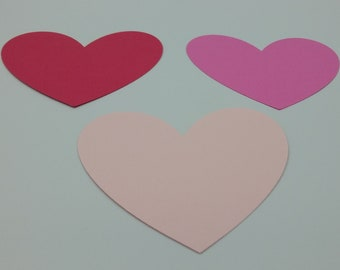 Heart Die Cuts - 25 Pieces, Advice Cards, Cut Outs For Buletin Boards, Card Making Supplies, Cut Outs, Pink, Red, Paper Hearts, 3.5 Inches