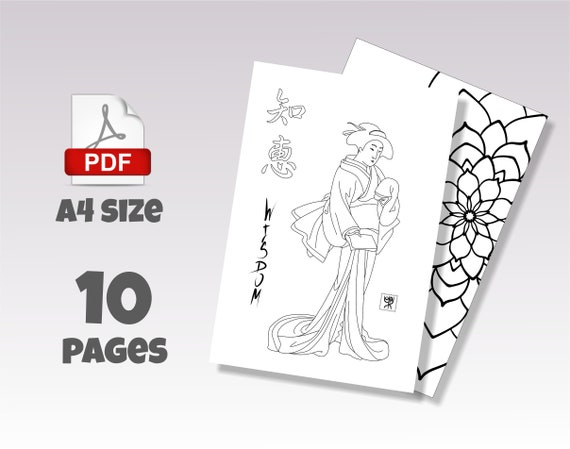 Adult Coloring Book Pdf, 10 Japanese Adult Coloring Pages INSTANT DOWNLOAD,  Digital Coloring Book for Adult Asian