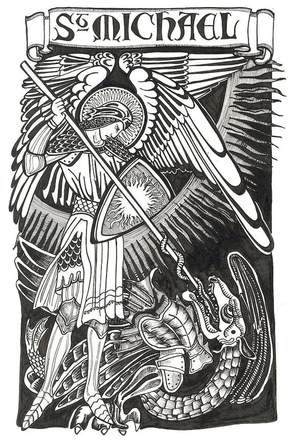 Saint Michael The Archangel Drawing Art Print Catholic Saint Patron Portrait Gift Reut Studio