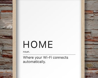 Funny quote print, home print, wifi print, wifi decor, home decor, wifi quote print, Home quote print  #FD041