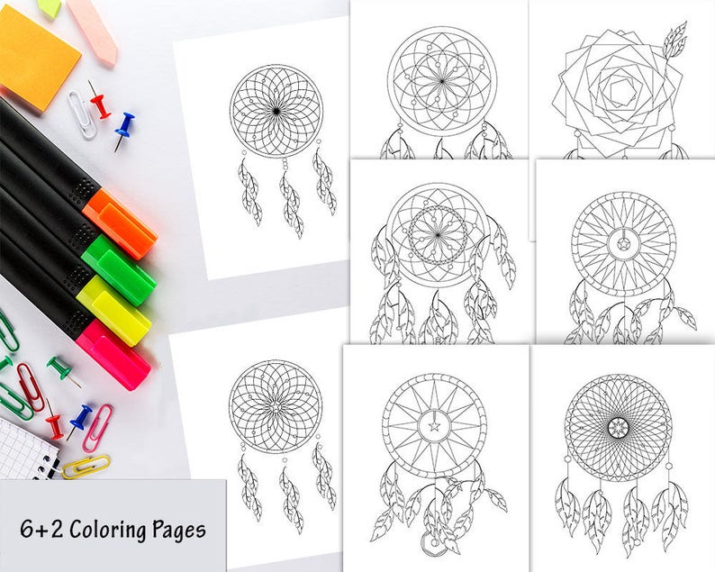 Dreamcatcher Coloring Pages Dream Catcher Coloring Pages Etsy