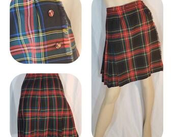 24cda37009 Pleated red-blue-green Tartan Skirt / size L