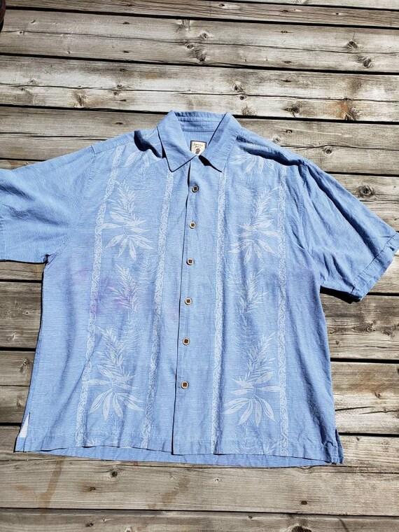 Men's blue silk retro shirt - image 6