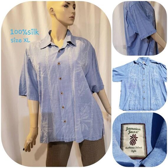 Men's Blue Silk Retro Shirt