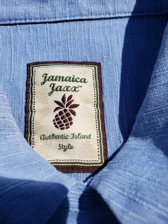 Men's blue silk retro shirt - image 4