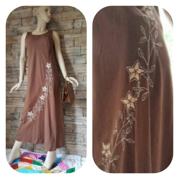 Brown linen maxi dress