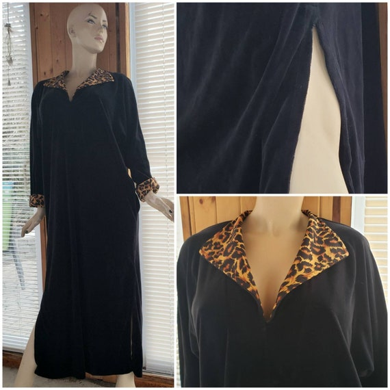 Maxi Black Velvet House  Robe Hostess dress