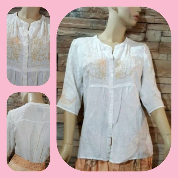 Embroidered White Linen Blouse