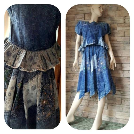 Denim Skirt & Blouse Set