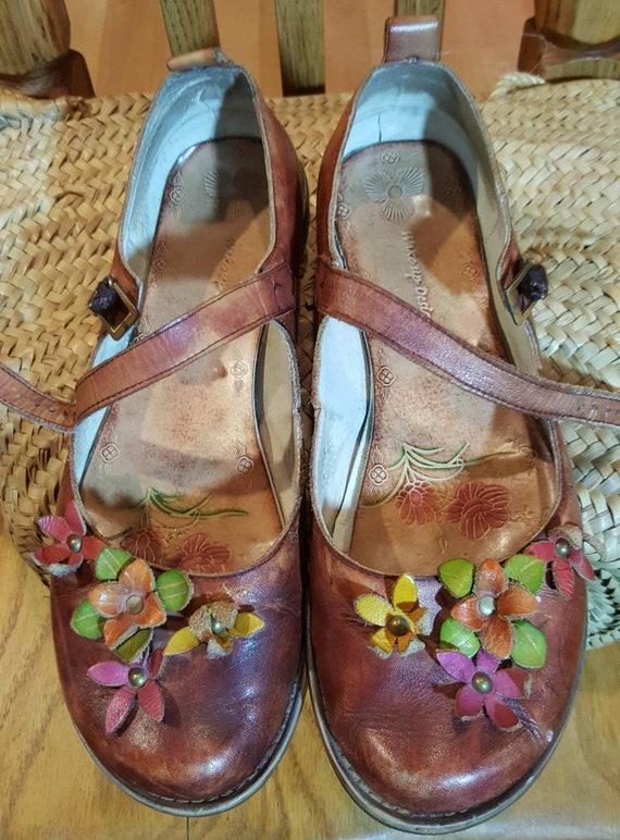 Brun de Mary janes  strap chaussures en cuir   taille 40 eur   Etsy 2479ce2e240b
