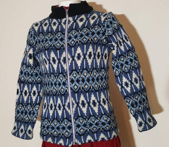 Vintage hand knit cardigan sweater