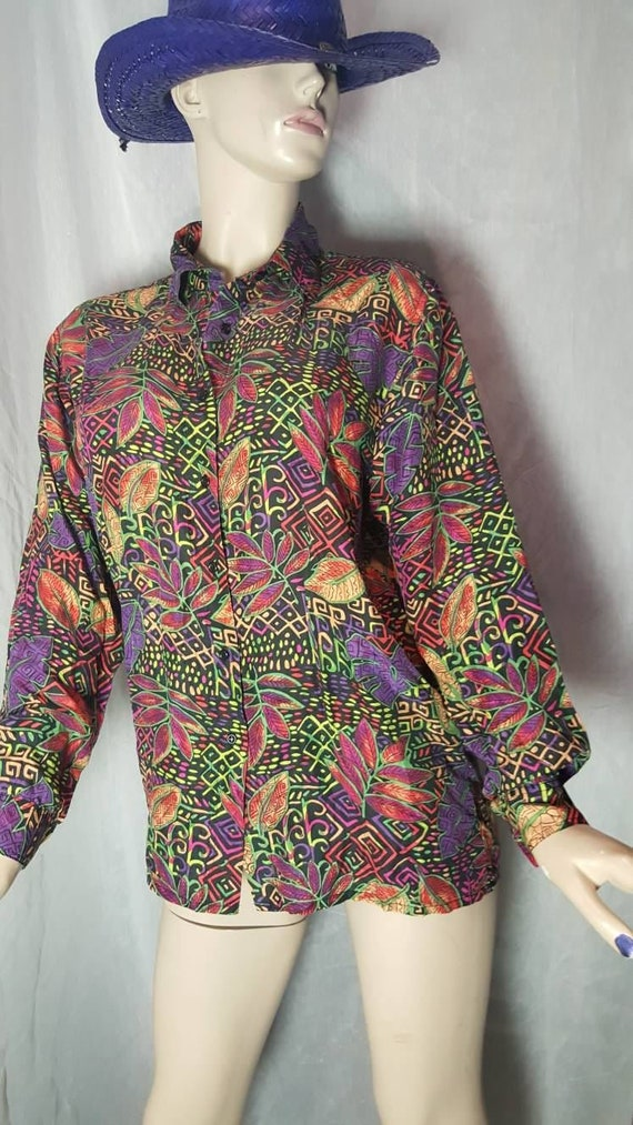 Psychedelic Silk Blouse - image 2