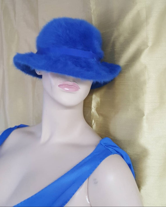 Blue Angora Cloche Hat by Kangol