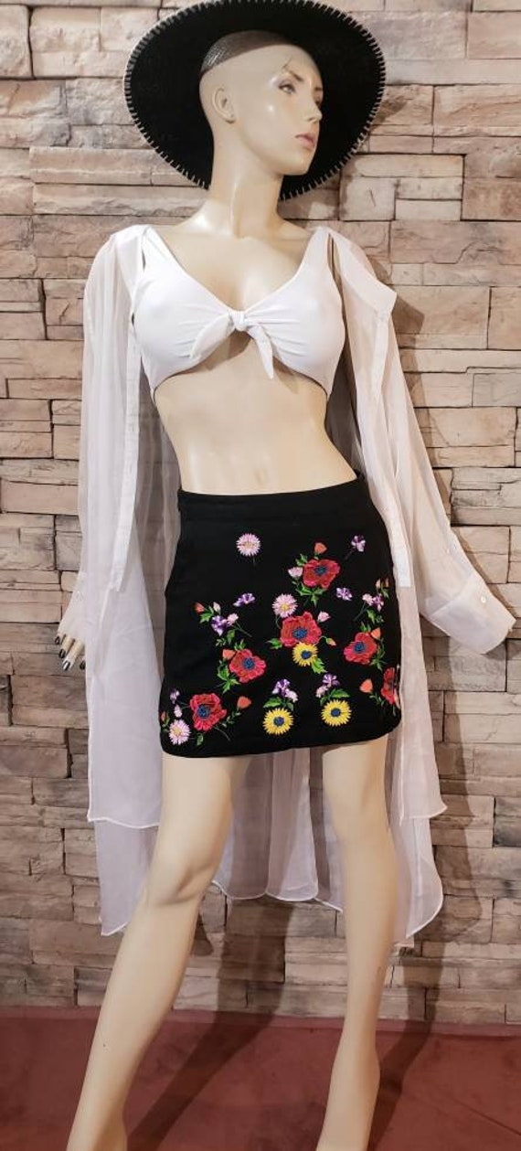 Black Cotton Floral Embroidered Mini Skirt