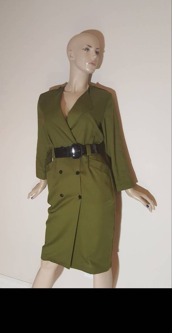 Olive green duster dress/Shirt dress