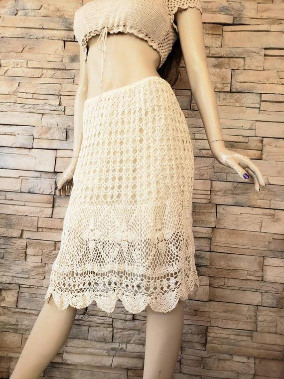 Beige crochet bohemian skirt